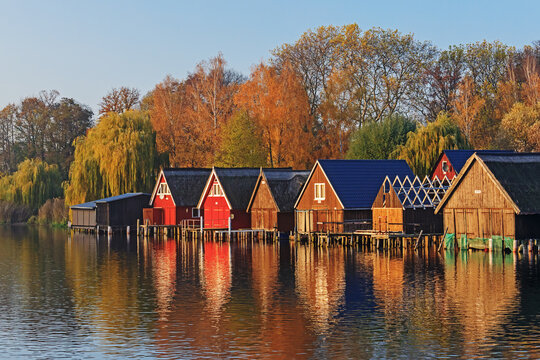Bootshäuser an der Müritz bei Röbel in Mecklenburg-Vorpommern im Abendlicht. Mit Bäumen im Herbstlaub.