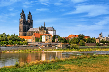 Scenic panoramic view of Magdeburg old town with Magdeburg cathedral, the Elbe river and its embankments in Magdeburg, Germany