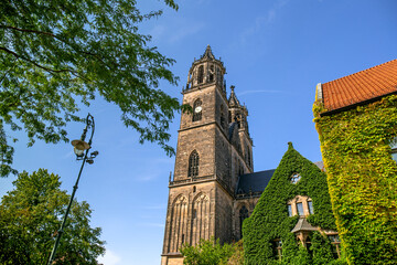 View of Germany's oldest Gothic cathedral in Magdeburg, Germany