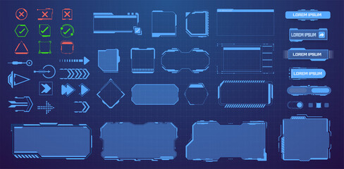 HUD, UI, GUI, Sci Fi  futuristic frame user interface screen elements mega set pack. Control panel for game apps. Callout bar labels, digital info boxes and buttons. Interface elements game. Vector