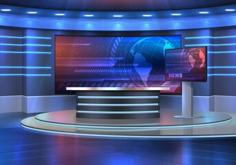Obraz Studio interior for news broadcasting, vector empty placement with anchorman table on pedestal, digital screens for video presentation and neon glowing illumination. Realistic 3d breaking news studio - fototapety do salonu