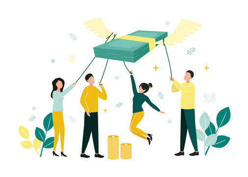 Finance. Vector illustration of inflation. Men and women hold a stack of notes with ropes, which fly up on their wings, next to stacks of coins, branches with leaves, dollar signs, numbers
