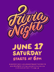 Trivia night. Vector poster template.