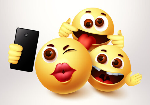Emoji smiley selfie friends taking groupie vector characters. Smiley emoji of friendship emoticon in happy smiling, funny and kissing facial expression in white background. Vector illustration.