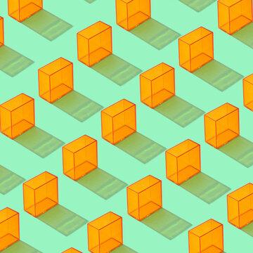 Rows of orange rectangular prisms