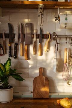 Kitchen utensils on knife magnetic rack