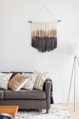 Macrame Hanging in Bright Mid Century Living Room