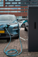 Electric car charging port in Rotterdam, Europe