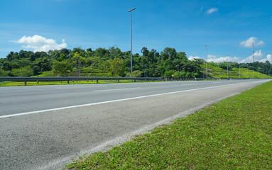 Perspective view of empty highway road