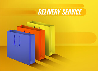 Fast delivery and transportation of goods from stores. Online order. Realistic multi-colored cardboard bags. Concept for a website. Color vector Wall mural