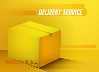 Fast delivery and transportation of goods from stores. Online order. Realistic closed cardboard box. Concept for a website. Color vector Wall mural