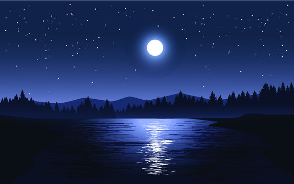 night landscape with moon and stars