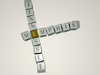 crosswords of memphis tennessee arranged by cubic letters on a mirror floor, concept meaning and presentation. illustration and background