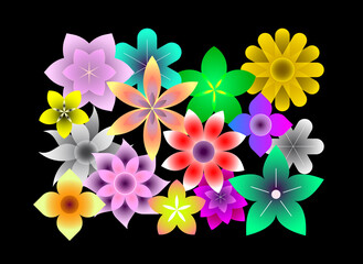 Fotorolgordijn Abstractie Art Abstract colored vector illustration with many different flowers on a black background. Floral design. In a vector file each flower is on separate layer.