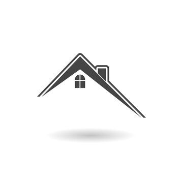 House roof icon sign with shadow