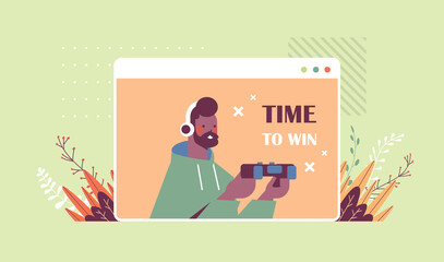 young man in headphones playing video games african american guy having fun web browser window horizontal portrait vector illustration
