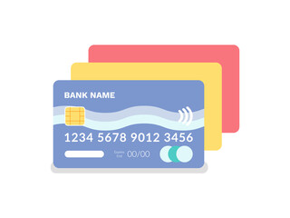 Wall Mural - Credit and debit card vector, isolated icon of plastic item with numbers and special code, financial object to pay and shopping, finance and capital