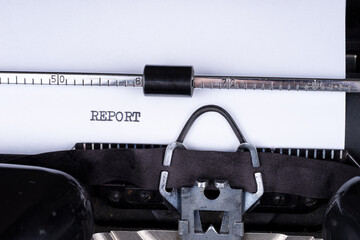 Word Report written with a vintage typewriter