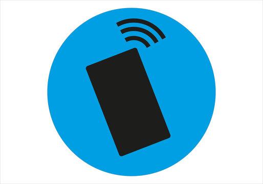 Icono negro de móvil sonando sobre fondo azul