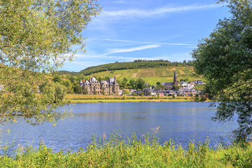 Scenic view on the Mosel village Lieser in Rhineland-Palatinate