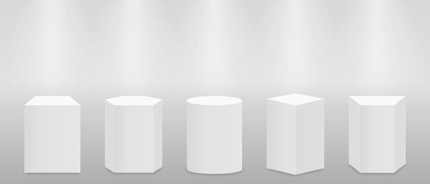 3d pedestal or podium mockup in pillar shapes. Set of empty stage or pedestal mockups isolated on white background. Podium or platform for award ceremony and product presentation