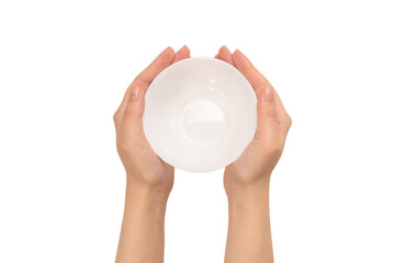 White bowl in woman hand isolated on white.