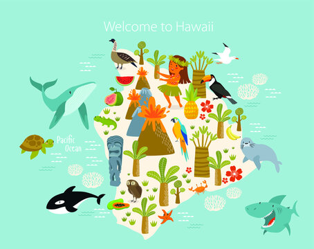 """Vector poster """"Welcome to Hawaii"""". hawai map. Animals and plants of Hawaii. Flora and fauna of the island."""