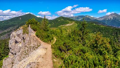 Beautiful panoramic landscape of summer mountain ridge in Western Tatras, Slovakia