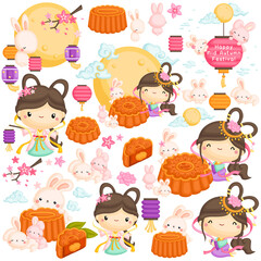 A Vector Set of The Chinese Goddess and Mooncake with some Rabbits under the Moonlight