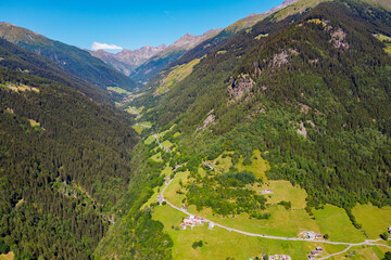 Grosina Valley, Valtellina, aerial view of the western Grosina Valley