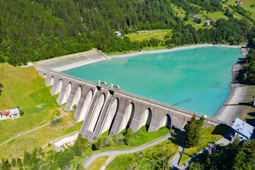 Grosina Valley, Valtellina, aerial view of the Roasco dam