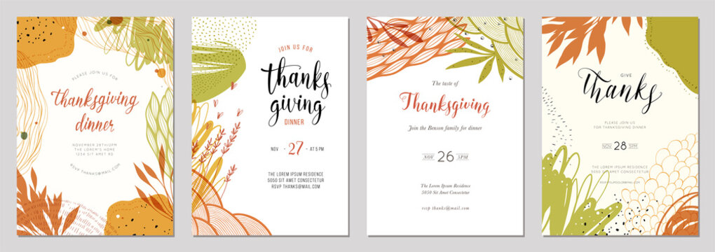 Trendy abstract Thanksgiving templates. Good for poster, card, invitation, flyer, cover and banner.