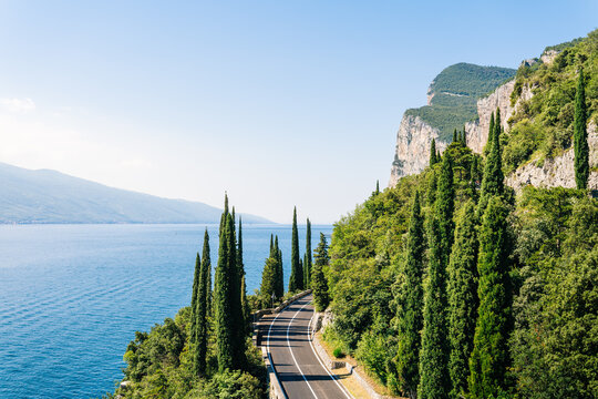 Della Forra road over blue lake Garda, Lombardy, Northern Italy