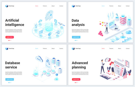 Isometric artificial intelligence digital technology vector illustration. Cartoon 3d mobile website design concept banner set for ai tech database services of advanced planning, cloud data analysis