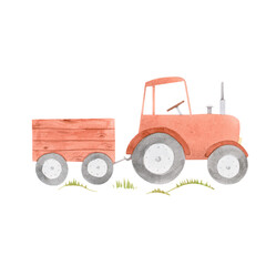 Beautiful stock illustration with cute watercolor farm tractor.