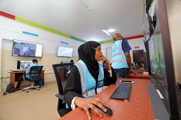 Somali analyst monitors the weather patterns at the early warning centre, in Mogadishu
