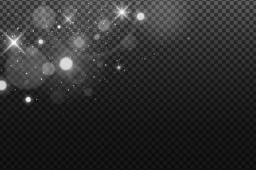 Wall Mural - Abstract falling lights bokeh isolated on a dark transparent background. Shining white stars and glare. Footage for your design. Realistic brilliant glitter. Vector illustration.