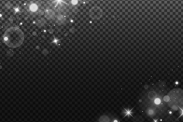 Wall Mural - Lights bokeh isolated on a dark transparent background. Shining white stars and glare. Footage for your design. Realistic brilliant glitter. Vector illustration.