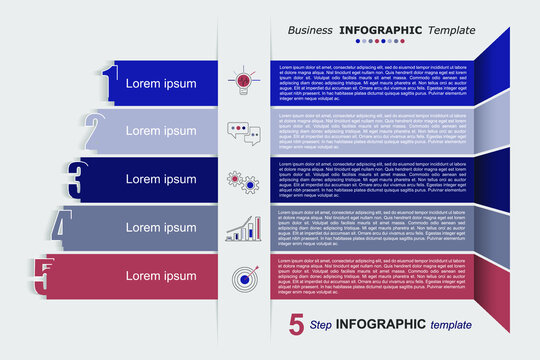 5 step infographic business template. Can be used for flow charts, presentations, web sites, banners, printed materials. Business data visualization. Strategic plan. Vector illustration.