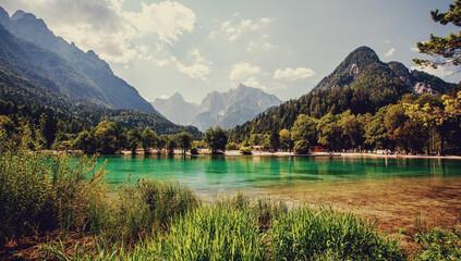 Wonderful Sunny landscape. Amazing nature of Slovenia. Jasna Lake, Triglav National Park, Slovenia.