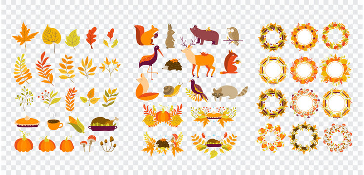 Autumn borders, wreaths, animals, leaves, thanksgiving clipart