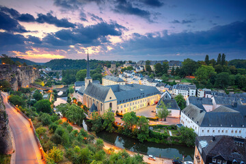 Fototapete - Luxembourg City. Aerial cityscape image of old town Luxembourg during beautiful summer sunrise.
