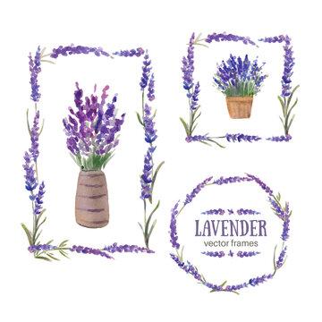 Vector illustration. Frames made up of lavender branches