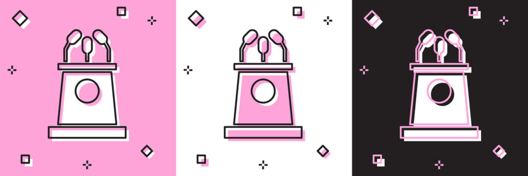 Set Stage stand or debate podium rostrum icon isolated on pink and white, black background. Conference speech tribune. Vector Illustration.