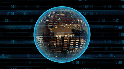 Blue Binary Code And Glowing Sci-Fi Sphere. Abstract Cyber Futuristic Technology Background
