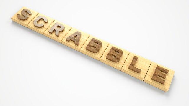 Scrabble wood letter blocks, 3D illustration. suitable for indoor board ghame themes