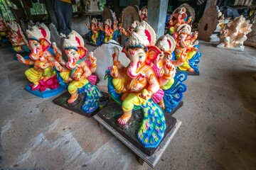 Local artisans preparing idol of God Ganesha/Lord Ganesh from eco friendly clay before the Hindu festival Ganesh Chaturthi also known as Vinayaka Chaturthi in Arambol? GOA, India