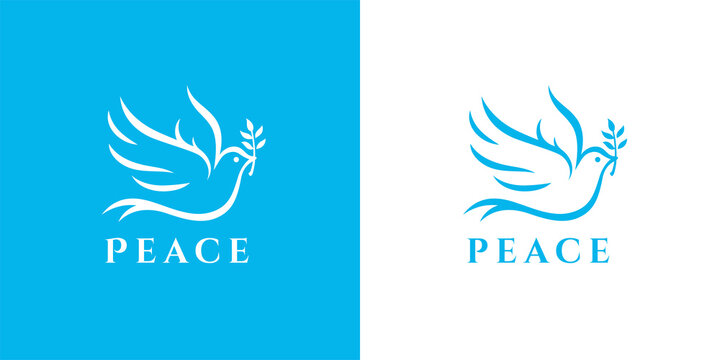 Flying peace dove with olive branch logo symbol. Spiritual purity sign. Peaceful christian charity icon. Vector illustration.