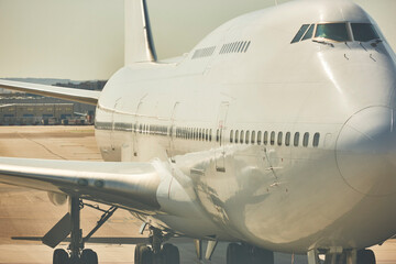 Huge airplane in the runway. Transportation and tourism industry