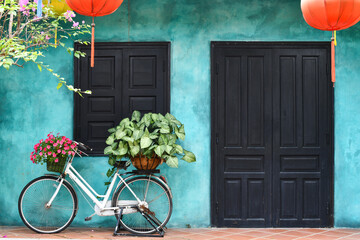 Large Teal Wall Vintage Bike